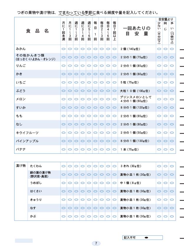 マークシート食物摂取頻度調査プログラム専用用紙(FFQ)