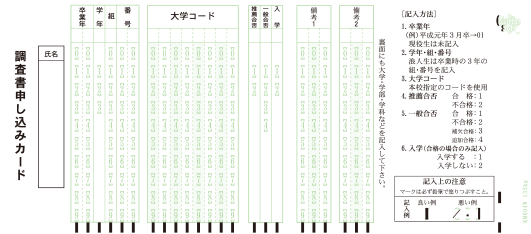 マークシート調査書申込カード表面