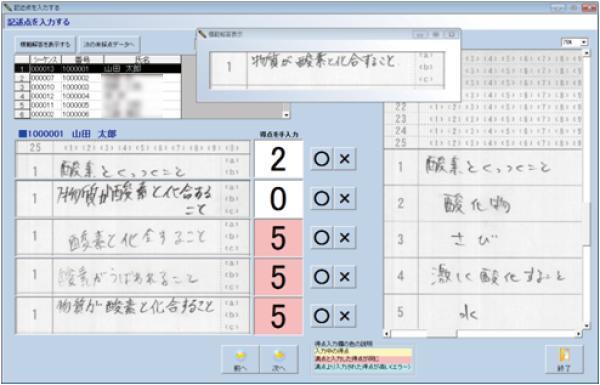 採点ソフト-SSくんSuper 記述式採点版-記述採点画面(カスタマイズなし)