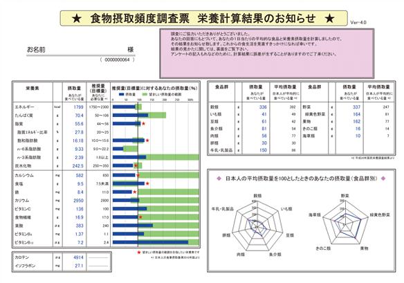 アウトソーシング-食物摂取頻度調査-FFQ-栄養計算結果表-表面