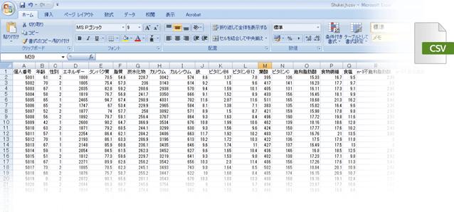 アウトソーシング-食物摂取頻度調査-FFQ-栄養計算結果データ(CSV)
