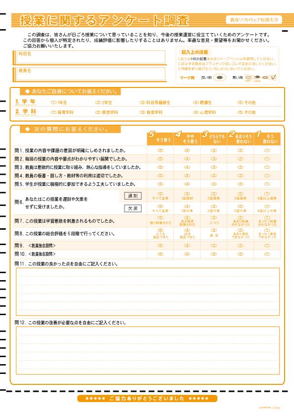 マークシート-サンプル-授業評価アンケート-003-12設問(内2記述)