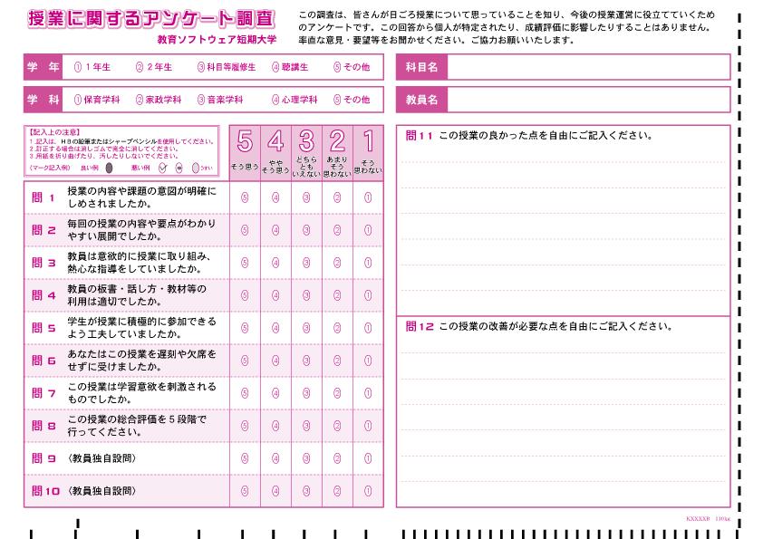 マークシート-サンプル-授業評価アンケート-006-12設問(内2記述)
