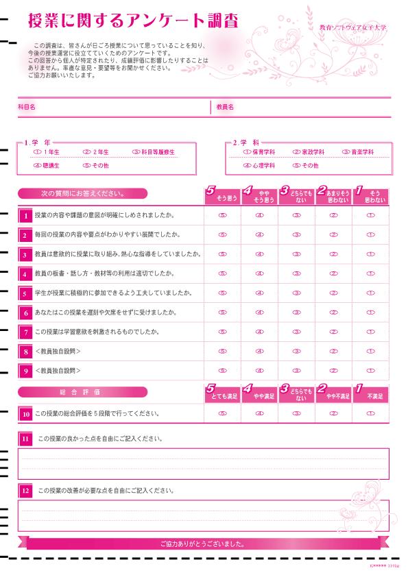 マークシート-サンプル-授業評価アンケート-013-12設問(内2記述)