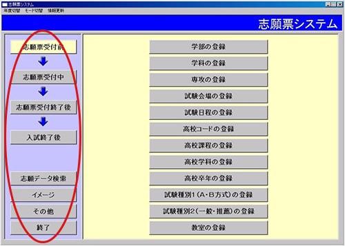 志願票受付システム-受付前操作画面