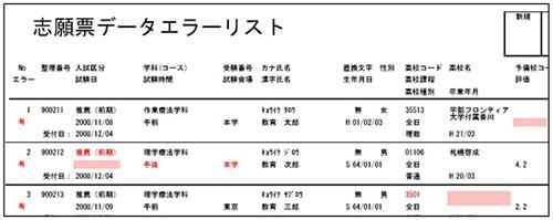 志願票受付システム-エラーリスト
