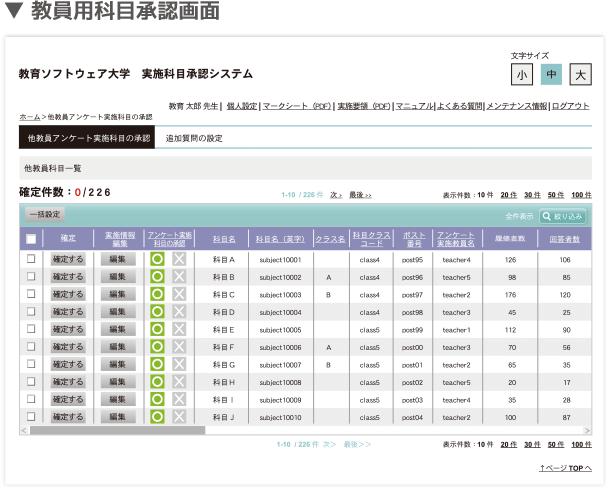 科目承認システムの画面イメージ