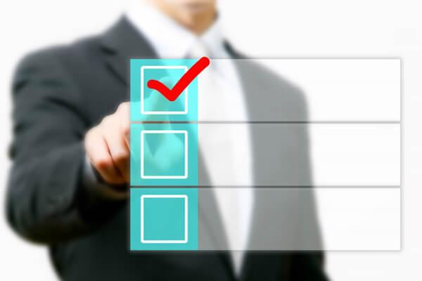入試システム専用開発-チェックするビジネスマン