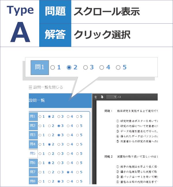 TypeA_試験問題をオンライン上で閲覧(スクロール表示)