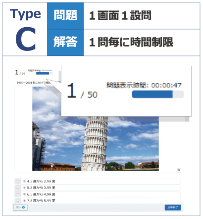 TypeC_1問毎の解答入力に時間制限