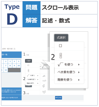 TypeD_文字や数式を用いた解答入力